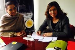 Signature-convention-de-partenariat-avec-Exp-Services-Maroc_Presidente-CSSF_Mme-Khadija-Bouhlou_Head-Office-dExperian-Maroc_Janvier-2014